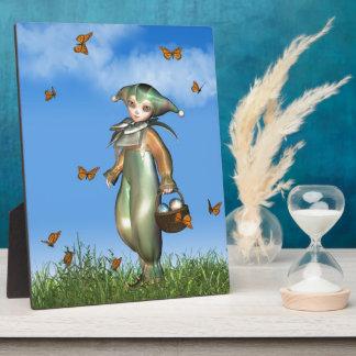蝶が付いているイースターPierrotピエロの人形 フォトプラーク