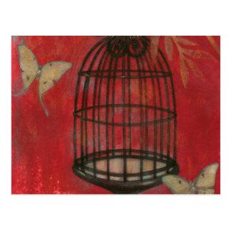 蝶が付いている装飾的な鳥かご ポストカード