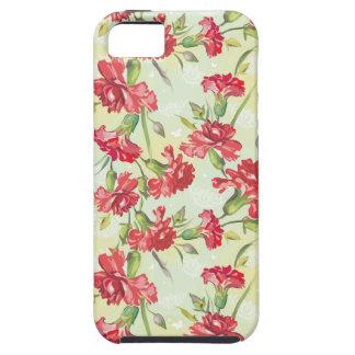 蝶との緑の赤いカーネーション iPhone SE/5/5s ケース