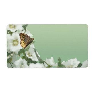 蝶とのHollyHockの花柄 ラベル
