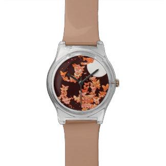 蝶とのMoonscape -珊瑚、チョコレート 腕時計