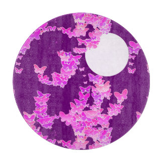 蝶とのMoonscape -蘭、アメジスト カッティングボード