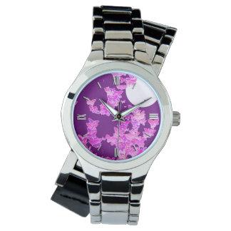 蝶とのMoonscape -蘭、アメジスト 腕時計