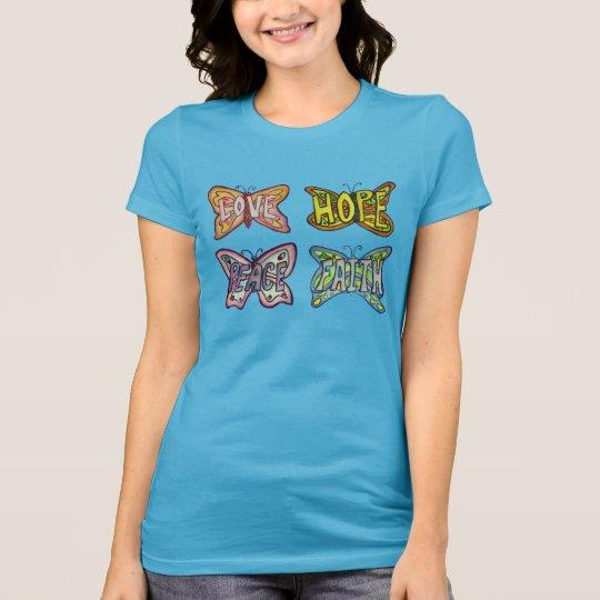 蝶によっては感動的な単語のカスタムのTシャツが飛びます Tシャツ