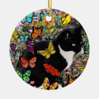蝶のそばかす-タキシードの子猫2は味方します セラミックオーナメント