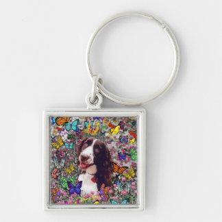 蝶の女性-ブリッタニースパニエル犬犬 キーホルダー