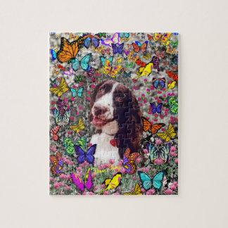 蝶の女性-ブリッタニースパニエル犬犬 ジグソーパズル