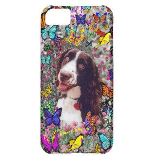 蝶の女性-ブリッタニースパニエル犬犬 iPhone5Cケース