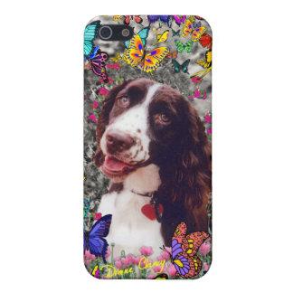 蝶の女性-ブリッタニースパニエル犬犬 iPhone 5 カバー