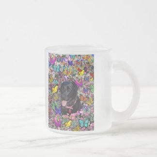 蝶のAbby -黒い実験室犬 フロストグラスマグカップ