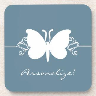 蝶はセット青いコースター渦巻きます コースター