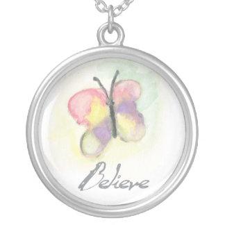 蝶はネックレスを信じます シルバープレートネックレス