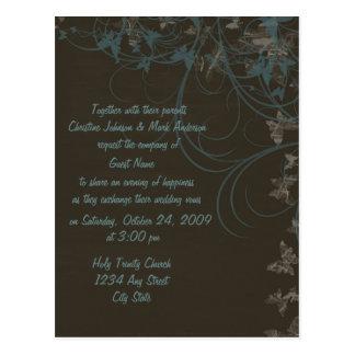 蝶は結婚式招待状をスクロールします ポストカード