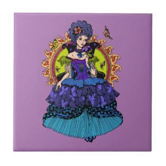 蝶を持つエレガントな王女の絵 タイル