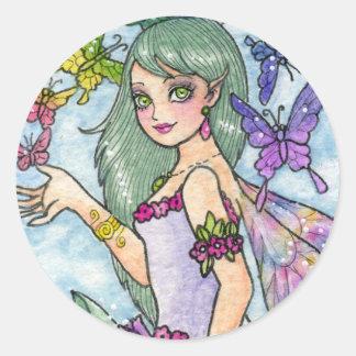 蝶アンハワード著妖精のファンタジーのステッカー ラウンドシール