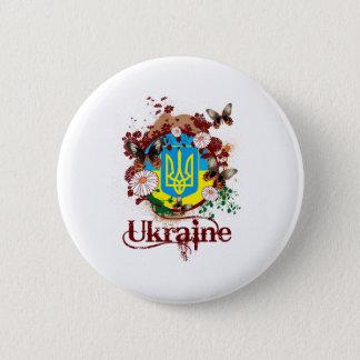 蝶ウクライナ 5.7CM 丸型バッジ