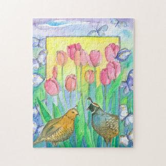 蝶ウズラの鳥のピンクのチューリップの水彩画の花 ジグソーパズル