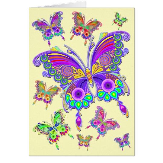 蝶カラフルな入れ墨のスタイル グリーティングカード