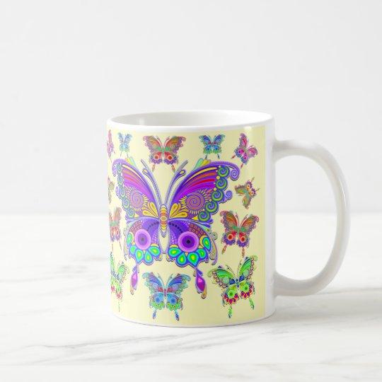 蝶カラフルな入れ墨のスタイル コーヒーマグカップ