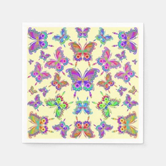 蝶カラフルな入れ墨のスタイル スタンダードカクテルナプキン