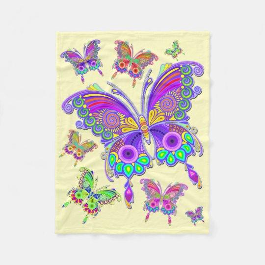蝶カラフルな入れ墨のスタイル フリースブランケット