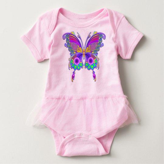 蝶カラフルな入れ墨のスタイル ベビーボディスーツ