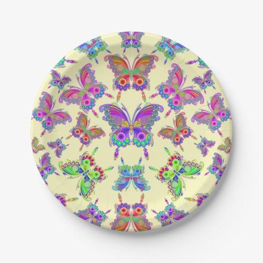 蝶カラフルな入れ墨のスタイル ペーパープレート