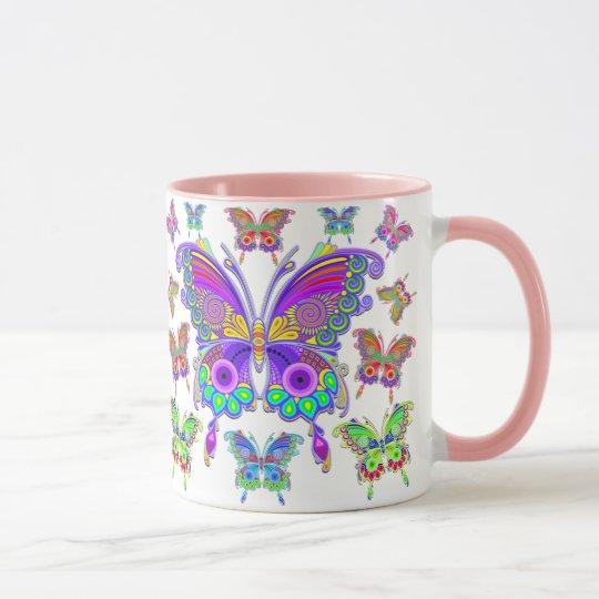 蝶カラフルな入れ墨のスタイル マグカップ