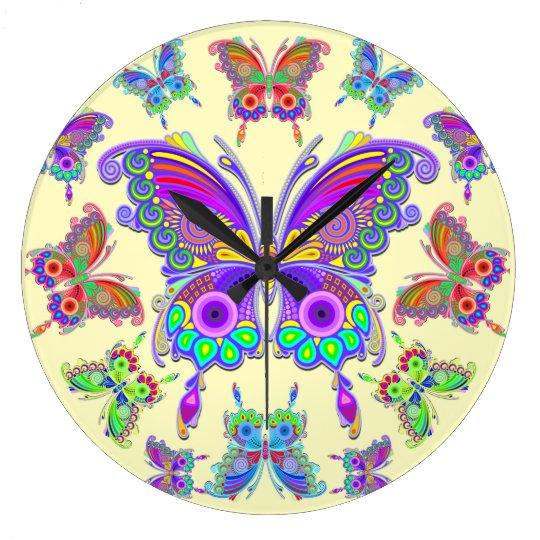 蝶カラフルな入れ墨のスタイル ラージ壁時計