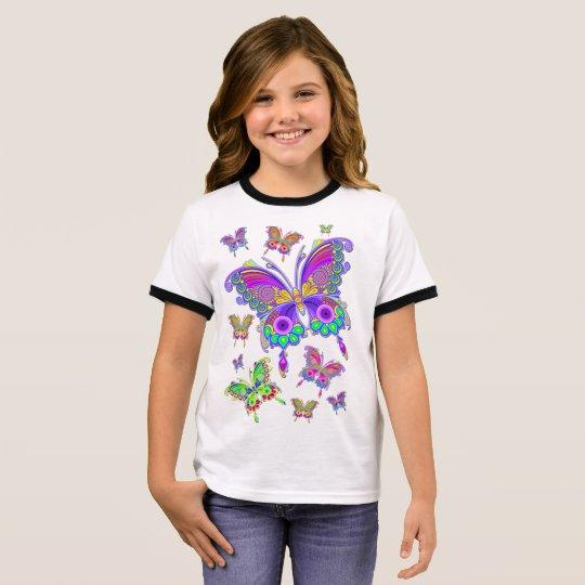 蝶カラフルな入れ墨のスタイル リンガーTシャツ
