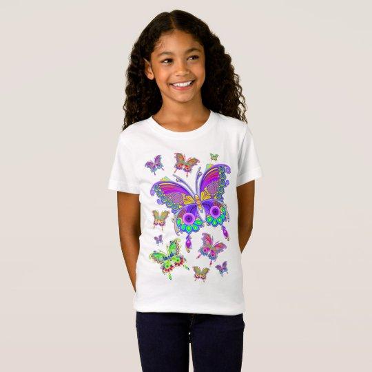 蝶カラフルな入れ墨のスタイル Tシャツ