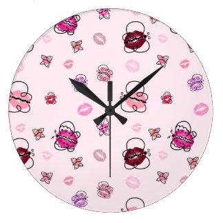蝶キス ラージ壁時計