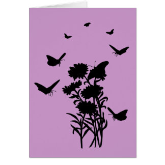 蝶シルエットの挨拶状のブランク カード