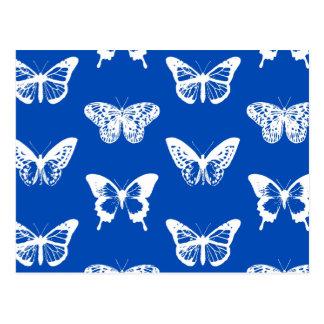 蝶スケッチ、コバルトブルーおよび白 ポストカード