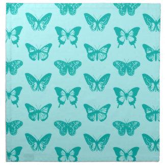 蝶スケッチ、水およびターコイズ ナプキンクロス
