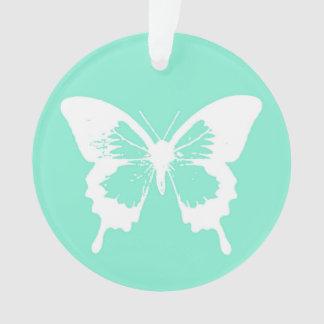 蝶スケッチ、水および白 オーナメント
