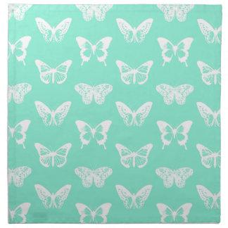 蝶スケッチ、水および白 ナプキンクロス