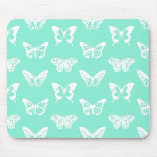 蝶スケッチ、水および白 マウスパッド
