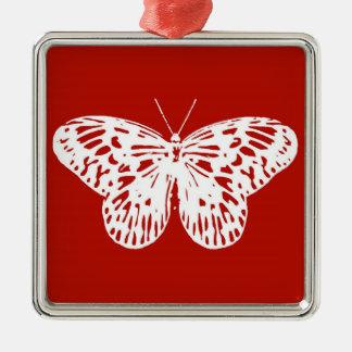 蝶スケッチ、深紅および白い メタルオーナメント