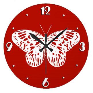 蝶スケッチ、深紅および白い ラージ壁時計