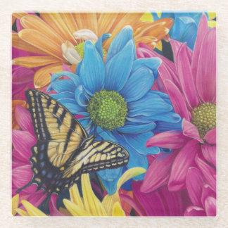 蝶デイジーは鉛筆の芸術のプリントを着色しました ガラスコースター