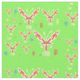 蝶デザインの生地 ファブリック