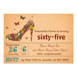 蝶ハイヒールの第65誕生日の招待 カード