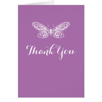 蝶バルミツワーの紫色のサンキューカード カード
