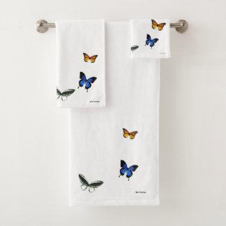 蝶パターン浴室タオルセット バスタオルセット