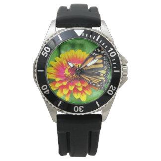 蝶ヒマワリのステンレス鋼の腕時計 腕時計