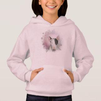 蝶ブルテリアとの女の子のピンクのフード付きスウェットシャツ