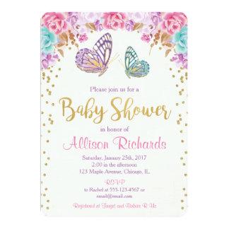 蝶ベビーシャワーの招待、ピンクの紫色の金ゴールド カード