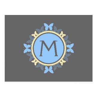 蝶リースのモノグラムの青く黄色い灰色 ポストカード