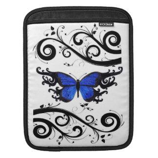 蝶ロイヤルブルーおよび黒の渦巻のIPadの袖 iPadスリーブ